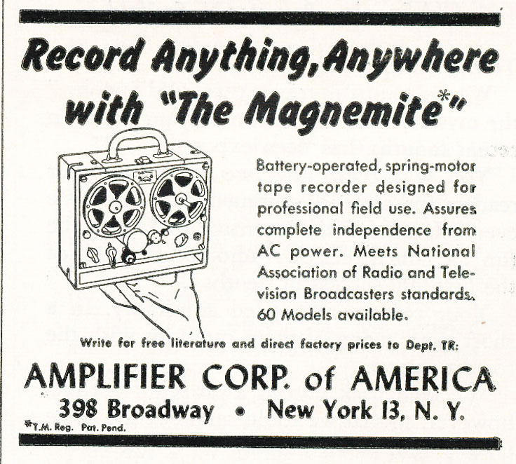 1957 ad for the Amplifier Corporation's Magnimite reel spring wound tape recorder in Reel2ReelTexas.com's vintage recording collection
