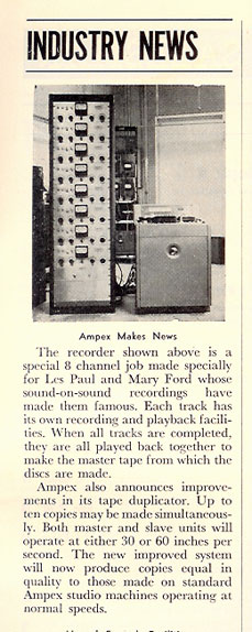 Industry news clip on Les Paul and Mary Ford's 8 track Ampex recorder in Phantom Productions' vintage tape recorder collection