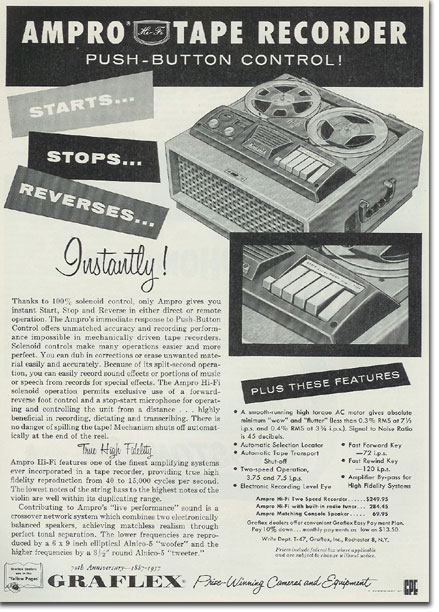 Ampro recorder ad from 1957