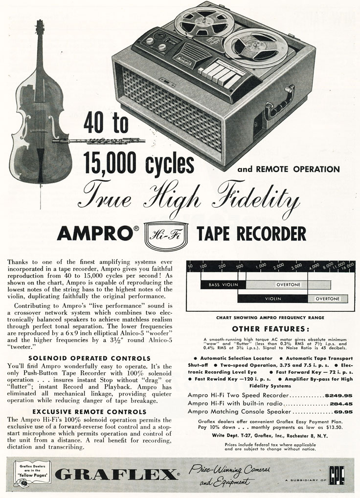 1957 Ampro Graflex ad in Phantom Productions' vintage tape recorder collection