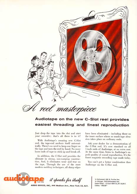Audiotape ad in 1957 Tape Recording magazine in Phantom Productions vintage recording collection