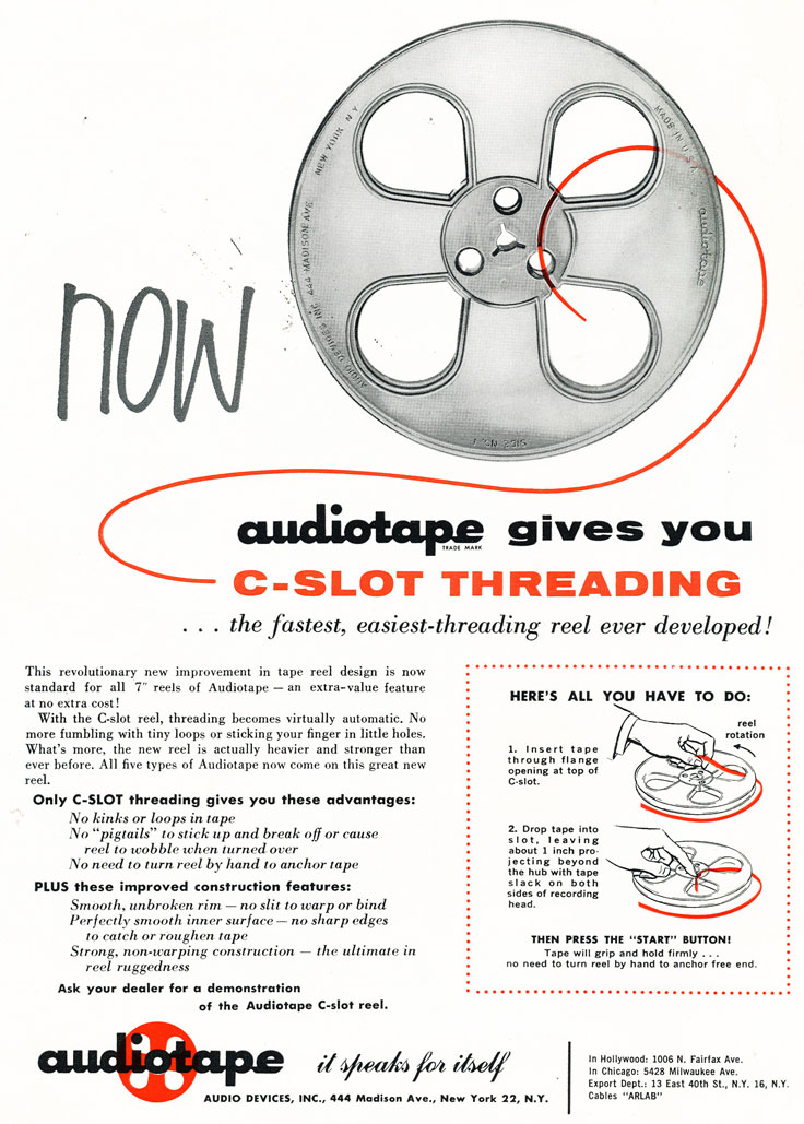 1957 Audio Devices AudioTape ad for reel recording tape in Phantom Productions vintage recording collection