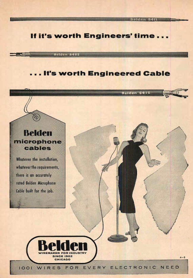 1957 ad for Belden Wire in the Reel2ReelTexas.com's vintage recording collection