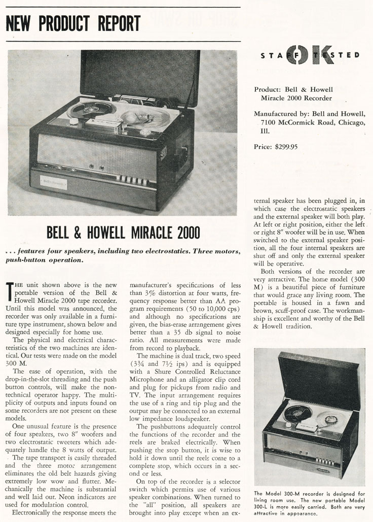 1957 review of the Bell & Howell 2000 reel to reel tape recorder in Phantom Productions' vintage recording collection