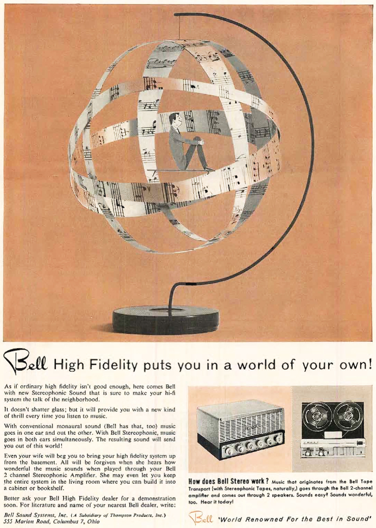 1957 ad for the Bell tape recorder in Phantom Productions' vintage recording coollection