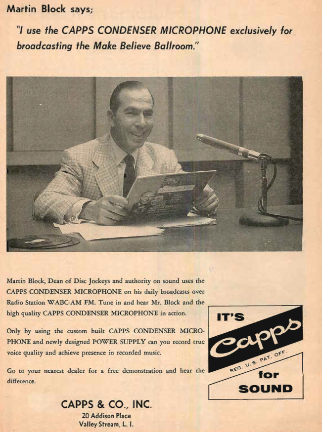 1957 ad for the Capps microphone in the Reel2ReelTexas.com's vintage recording collection