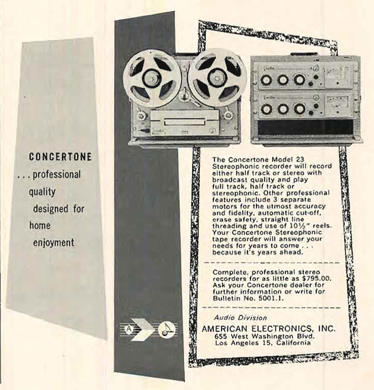 1957 ad for the Concertone 23 reel to reel tape recorder in the Reel2ReelTexas.com's vintage recording collection