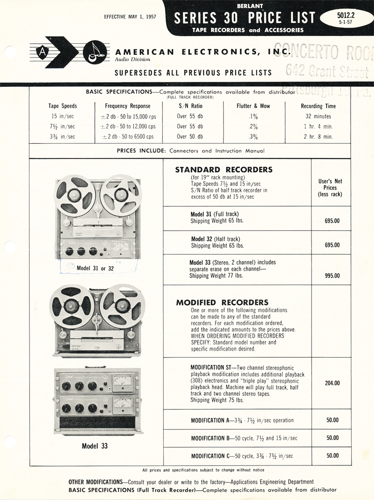 1957 Concertone price list in Phantom Productions' vintage tape recorder collection