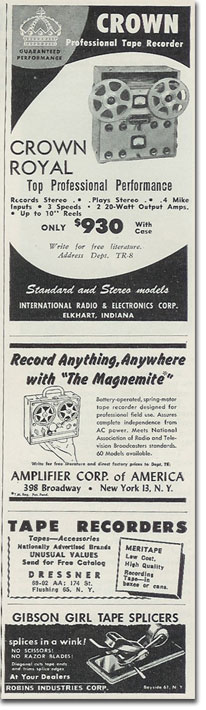 picture of Crown recorder ad from 1957