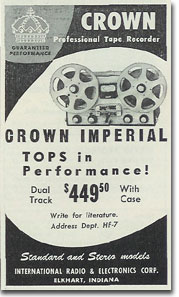 picture of Crown tape recorder ad from 1957 Tape Recording magazine