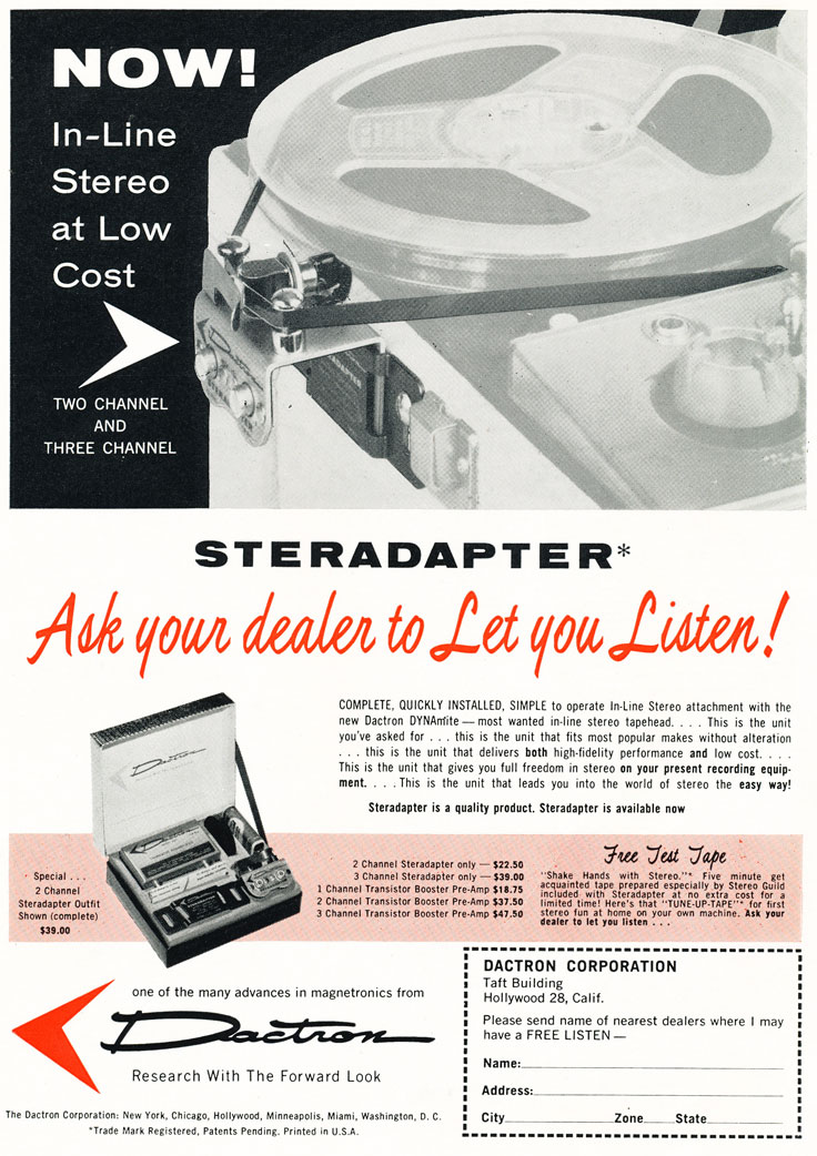 1957 ad for the Datron stereo conversion kit in Phantom Productions' vintage recording coollection
