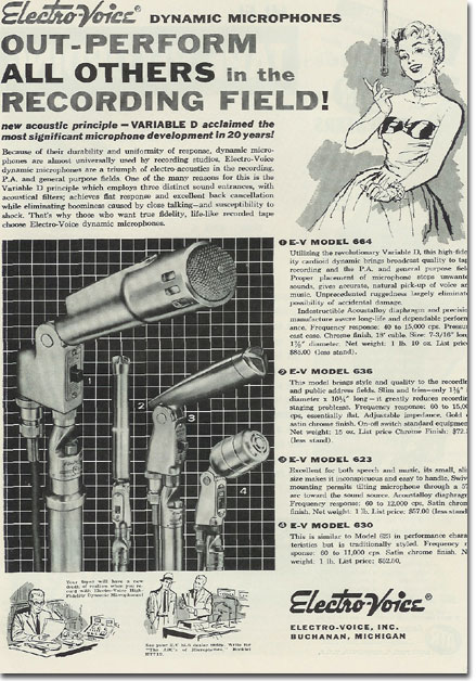 picture of Electro Voice 664 630 microphone ad from 1957