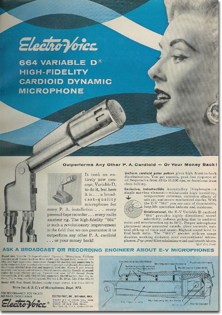 picture of 1957 ad for EV 664 microphone