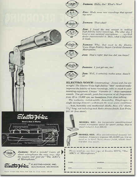 Electro Voice 664 microphone ad from 1957 Tape Recording magazine in the Reel2ReelTexas.com's vintage recording collection