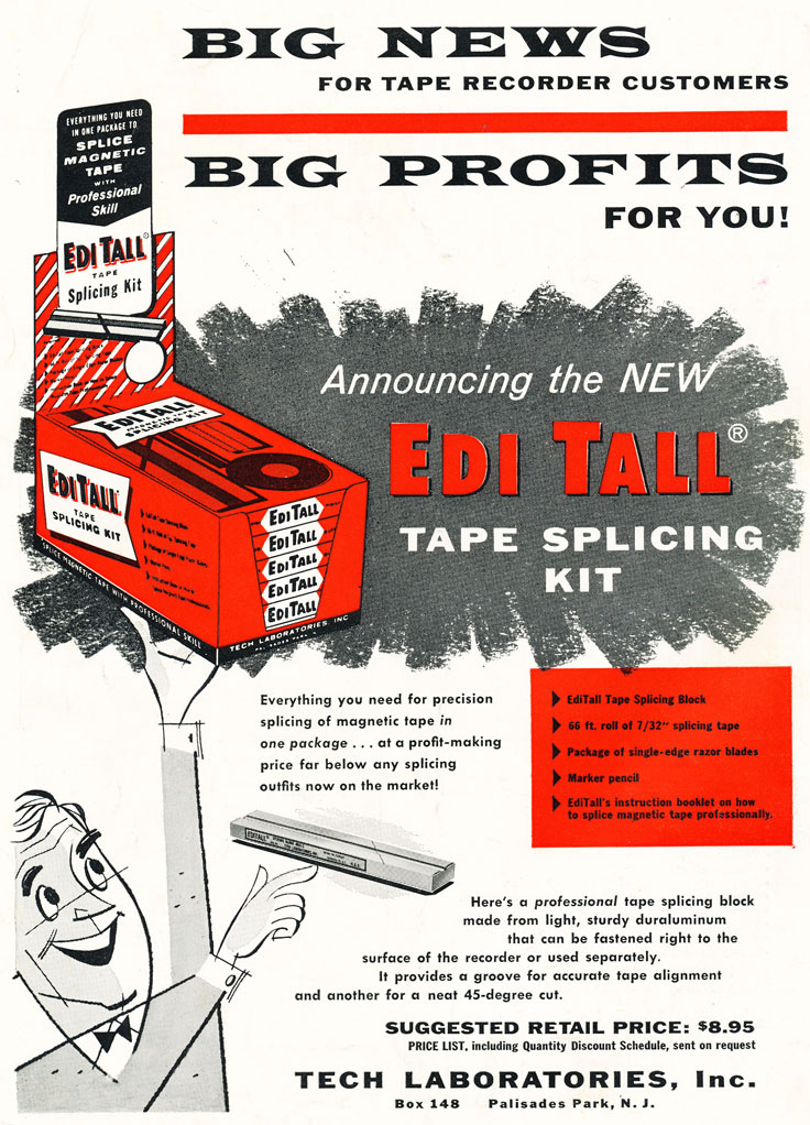1957 ad for Tech Labs EdiTall reel tape splicer in Phantom Productions' vintage recording collection