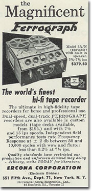 picture of Ferrograph recorder ad from 1957