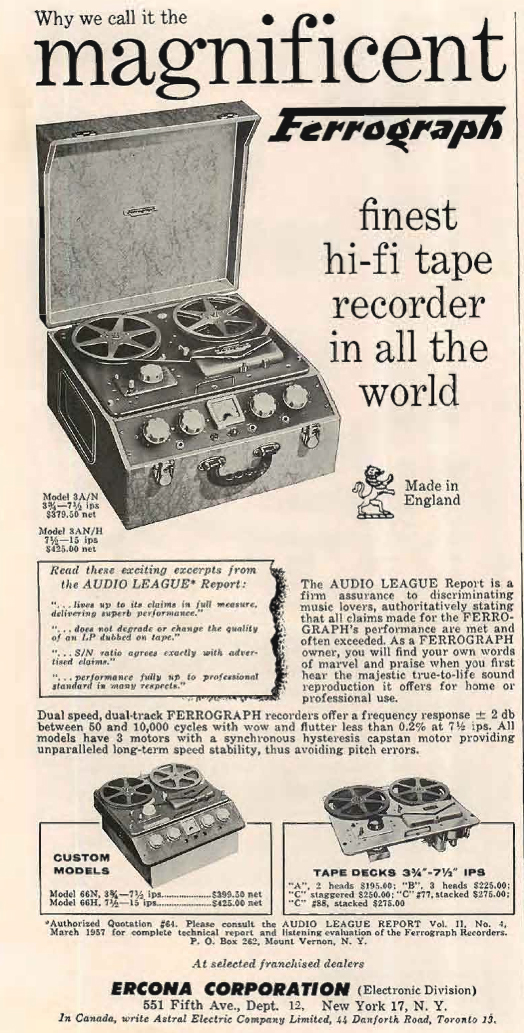 1956 ad for the UK's Ferrograph reel tape recorder in Reel2ReelTexas.com's vintage recording collection