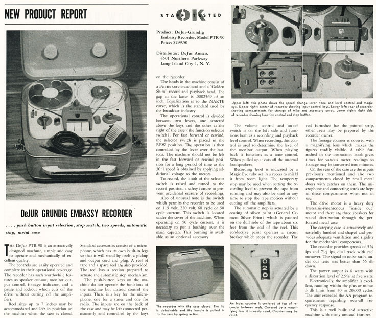 1957 review of the De Jur Grundig reel to reel tape recorder  in Phantom Productions' vintage recording collection