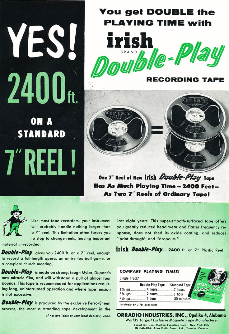 1957 ad for Irish recording tape in Phantom Productions' vintage recording collection