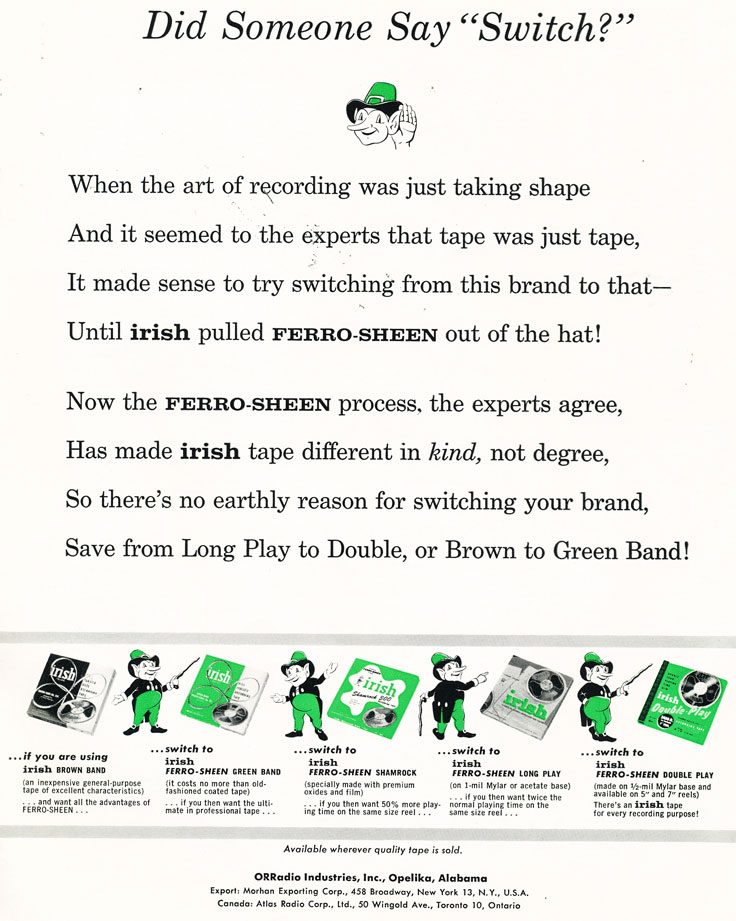 1957 ad for Irish reel tape recording tape featuring Paul Klipsch in Phantom Productions' vintage recording collection