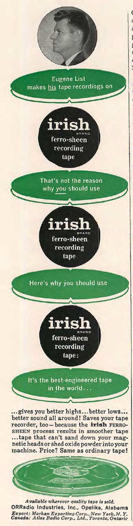 1957 ad for Irish reel tape recording tape featuring Eugene List in Reel2ReelTexas.com's vintage recording collection