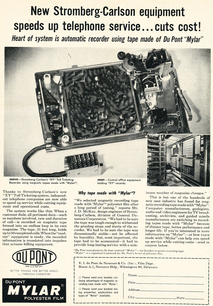 1957 ad for Du Pont Mylar tape in Phantom Productions' vintage recording collection