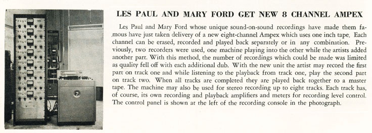 1957 New Products review describing Les Paul and Mary Ford's new 8 channel Ampex tape recorder in Phantom Productions' vintage recording collection