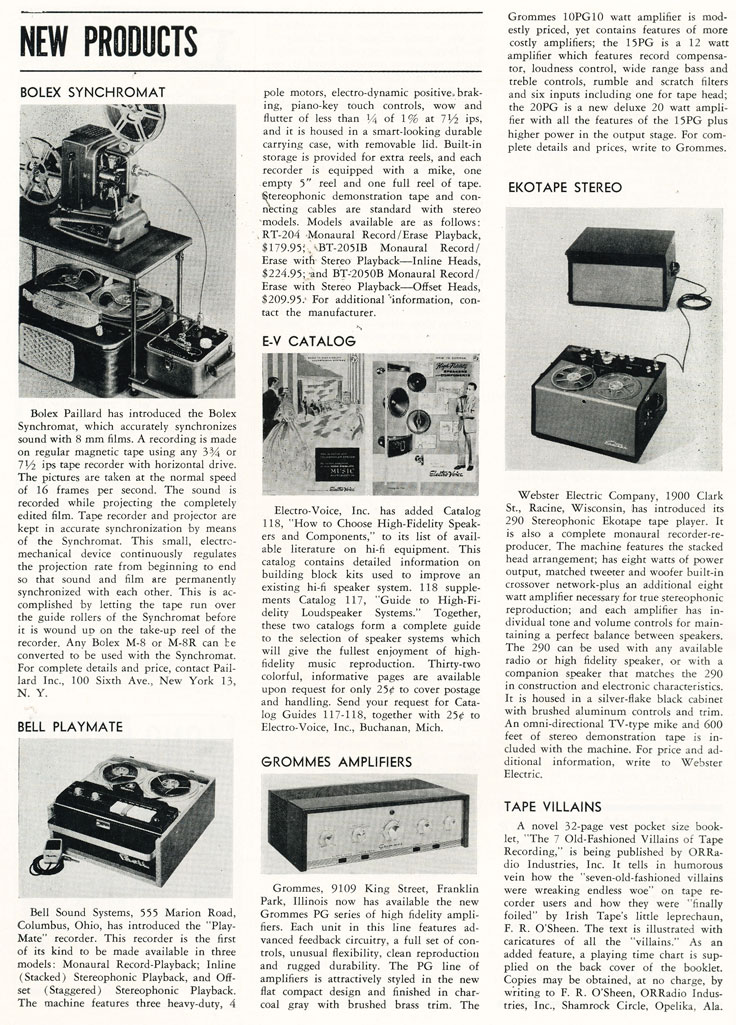 1957 list of new products in Phantom Productions' vintage tape recording collection