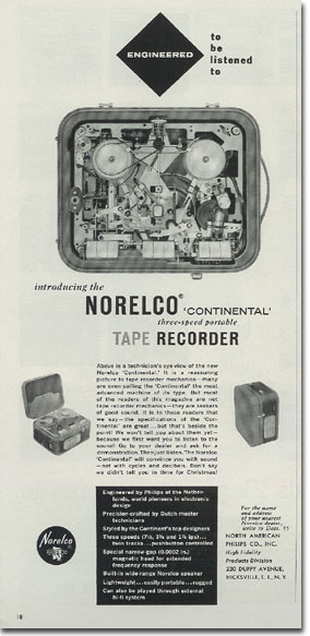 1957 ad for  the Norelco Continental reel to reel tape recorder in Phantom Productions' intage recording collection