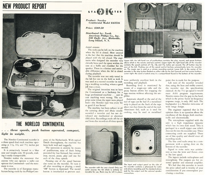1957 review of the Norelco Continental reel to reel tape recorder in Phantom Productions' intage recording collection