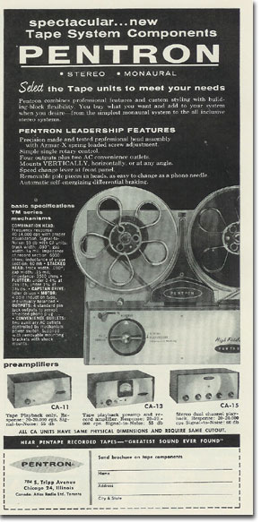Pentron recorder ad from 1957 in Reel2ReelTexas.com's vintage recording collection