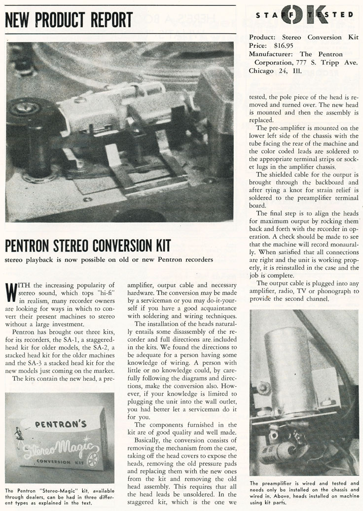 1957 article on Pentron stereo conversion kit in Phantom Productions' vinntage recording collection