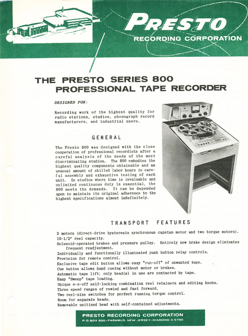 1957 Presto 800 Series professional reel tape recorder ad in Reel2ReelTexas.com's vintage reel tape recorder collection