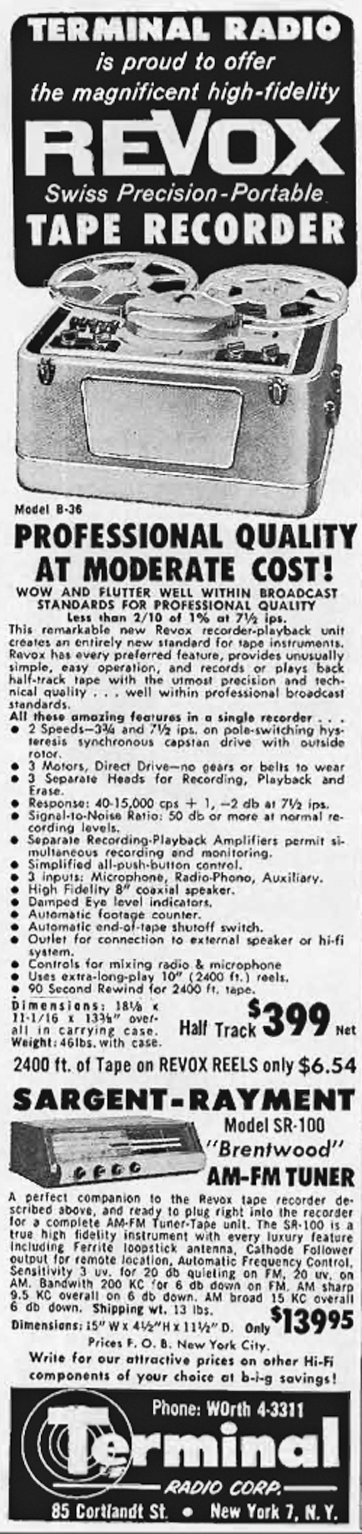 1957 ad for the ReVox B36 reel to reel tape recorder in Reel2ReelTexas.com's vintage recording collection