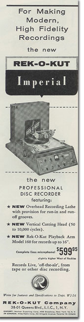 Rek-O-Kut ad from 1957 in Reel2ReelTexas.com's vintage recording collection