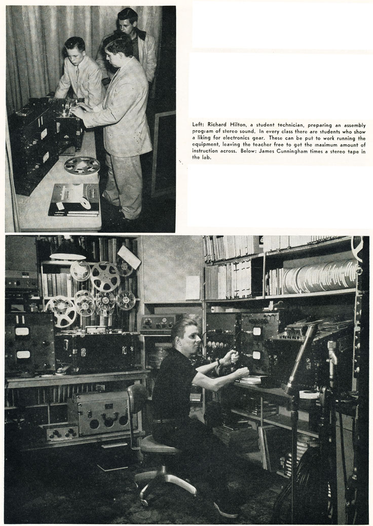 1957 pictures of school electronics and recording class in Phantom Productions' vintage recording collection