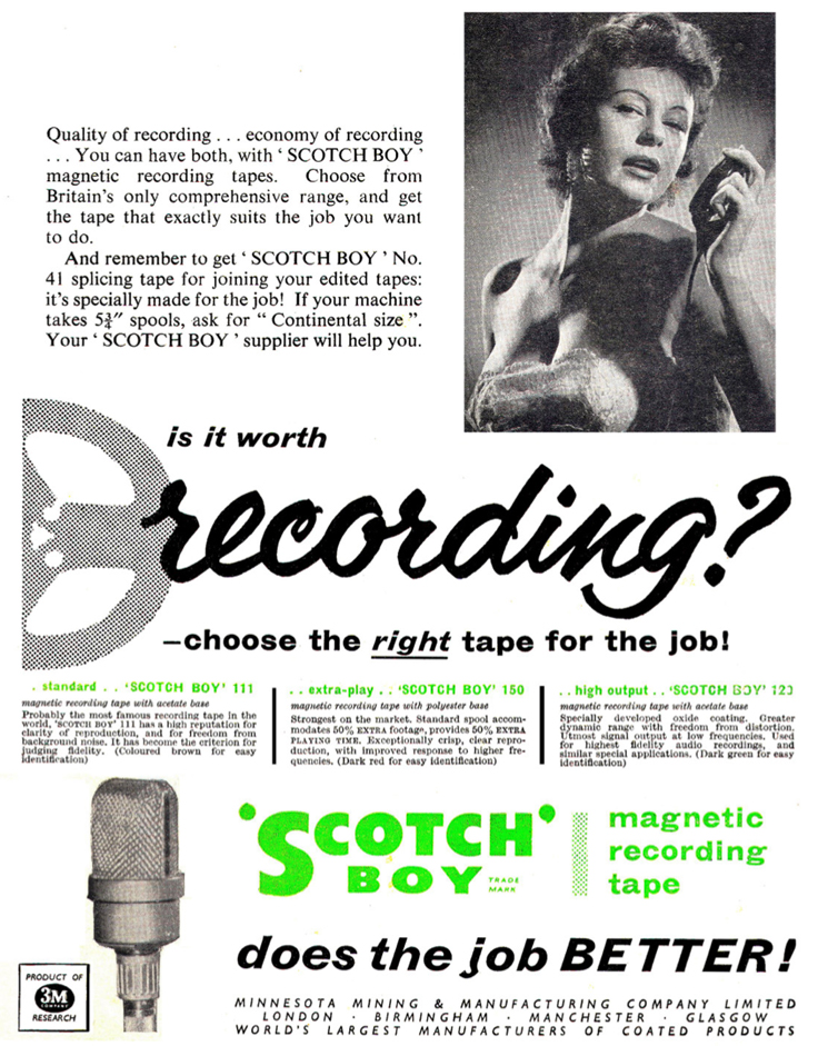 Scotch recording tape ad from 1957 Tape Recording magazine in the Phantom Productions' vintage recording col