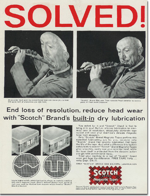 Scotch recording tape ad from 1957 Tape Recording magazine in the Reel2ReelTexas.com's vintage recording collection