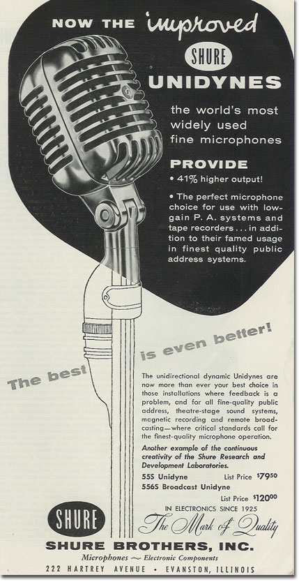 picture of Shure 55 microphone ad from 1957
