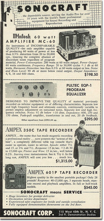 picture of 1957 ad for Ampex recording equipment