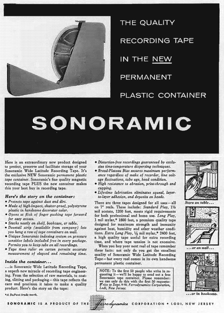 1957 Sonoramic ad in Reel2ReelTexas.com vintage tape recorder collection