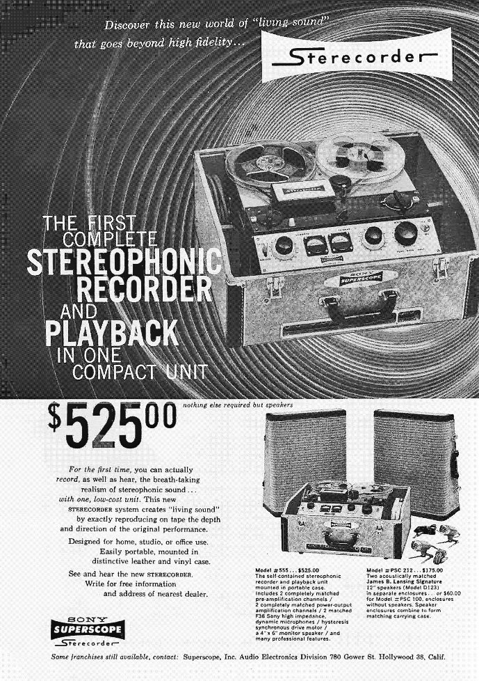 1957 ad for the Sony 555 reel to reel tape recorders in the Reel2ReelTexas.com's vintage recording collection