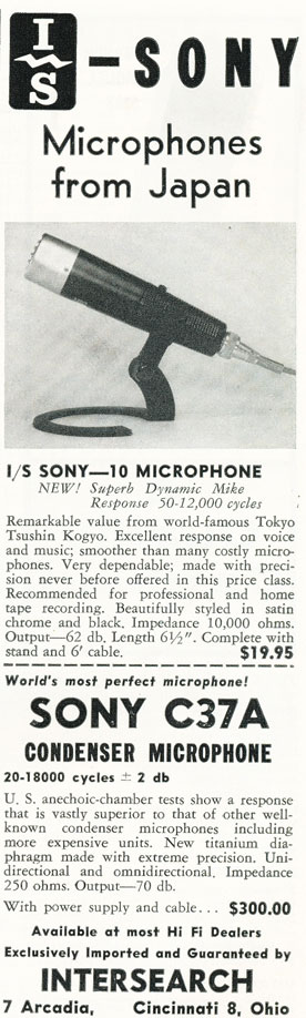 1957 Sony microphone ad in Phantom Productions' vintage recording collection