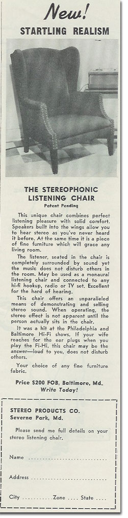 picture of Stereo chair ad from 1957