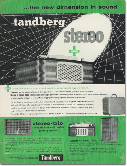 picture of Tandberg recorder ad from 1957