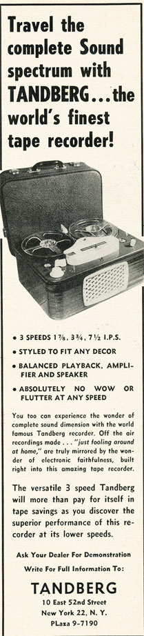 1957 ad for the Tandberg Model 2 reel to reel tape recorder in Reel2ReelTexas.com's vintage recording collection