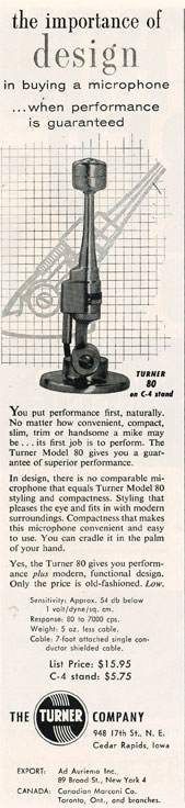 1957 Turner microphone ad in Phantom Productions' vintage recording collection