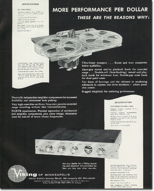 picture of Viking tape recorder ad from 1957 Tape Recording magazine