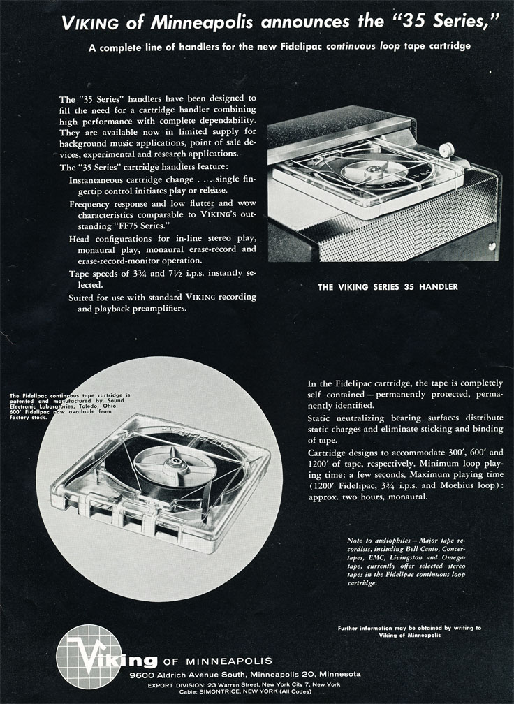 1957 ad for the Fidelipac tape system from Viking in Phantom Productions' vintage recording collection
