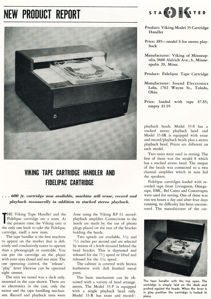 1957 review of the Fidelipac tape system from Viking in Phantom Productions' vintage recording collection